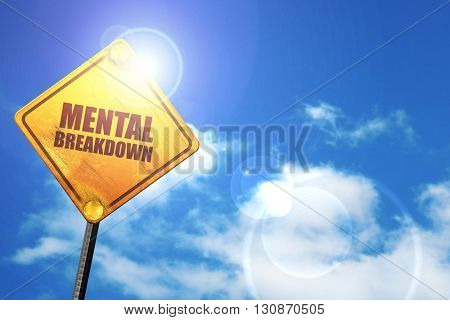 mental breakdown, 3D rendering, a yellow road sign