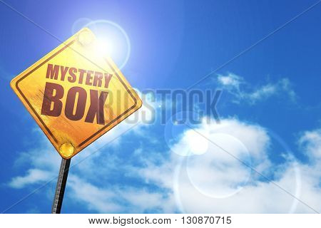 mystery box, 3D rendering, a yellow road sign