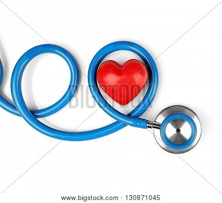 Blue stethoscope with heart isolated on white