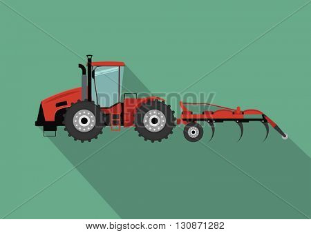 A tractor with a plow. Agricultural illustration in flat design style vector.