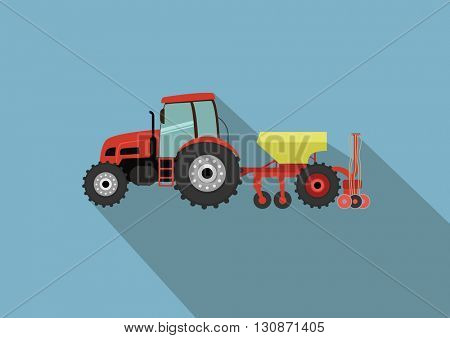 A tractor with a seeder. Agricultural illustration in flat design style vector.