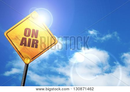 on air, 3D rendering, a yellow road sign