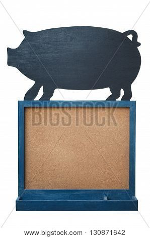 Cork board with pig blackboard isolated on white background.