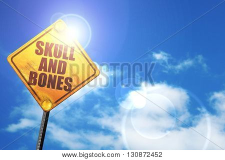 skull and bones, 3D rendering, a yellow road sign