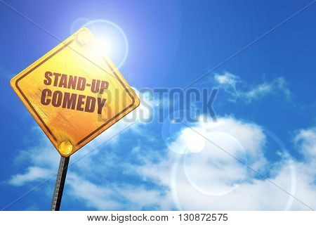 stand-up comedy, 3D rendering, a yellow road sign