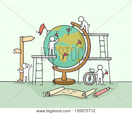 Sketch of working little people with globe. Doodle cute miniature scene of workers. Hand drawn cartoon vector illustration for business and education design.