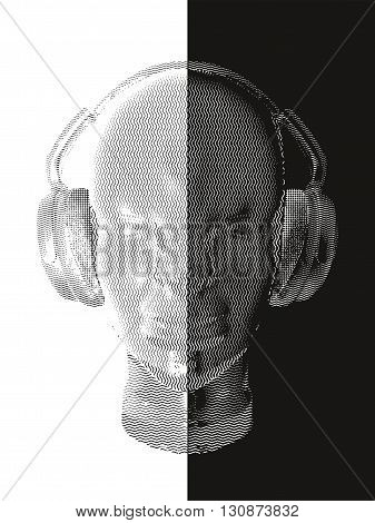 Concept music. An abstract vector of man relaxing and listening music with headphones. Realistic art design of object with contour varying the width and shape. Artistic outline design. Black and white