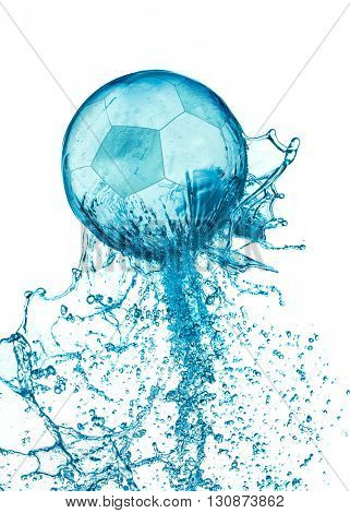 Abstract water soccer ball splash isolated on white background. Football abstract concept.