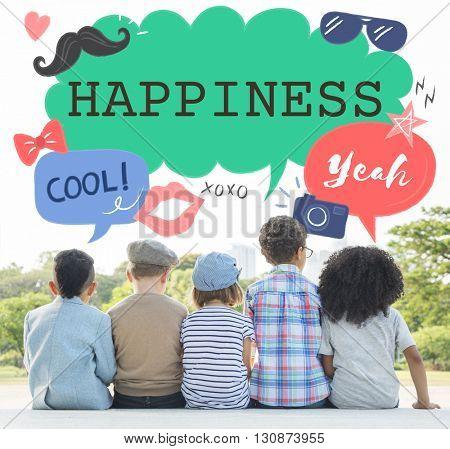 Kids Casual Joyful Independent Graphic Concept