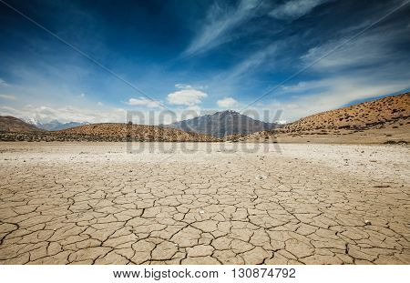 Dry Dhankar lake in Himalayas mountains. Spiti valley, Himachal Pradesh, India