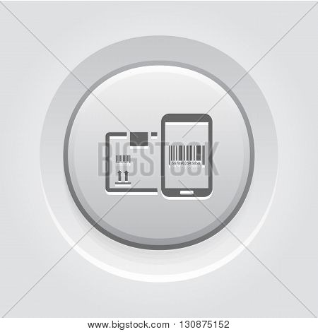 Mobile Tracking Services Icon. Mobile Devices and Services Concept Grey Button Design