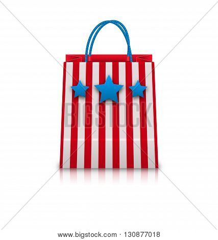 Illustration Shopping Bag in USA Patriotic Colors for National Holidays. Packet Isolated on White Background - Vector
