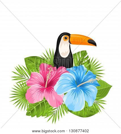 Illustration Beautiful Exotic Nature Background with Toucan Bird, Colorful Hibiscus Flowers Blossom and Tropical Leaves, Isolated on White Background - Vector