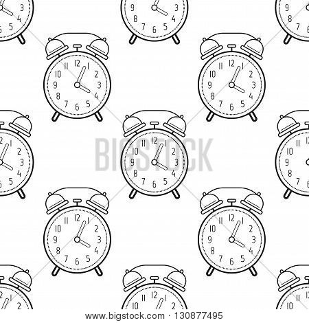 Alarm clock, flat linear icon. Seamless pattern with clocks. Vector illustration