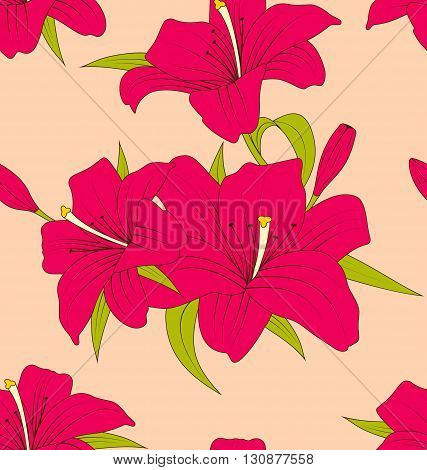 Illustration Old Seamless Texture with Lily Flowers and Leaves. Hand Drawn Style. Vintage Pattern - Vector