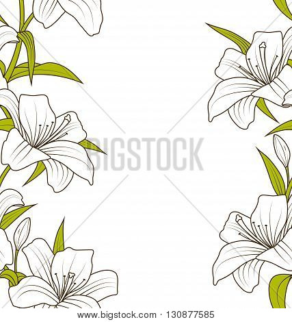 Illustration Cute Ornamental Seamless Texture with Lily Flowers. Hand Drawn Style. Nature Template - Vector