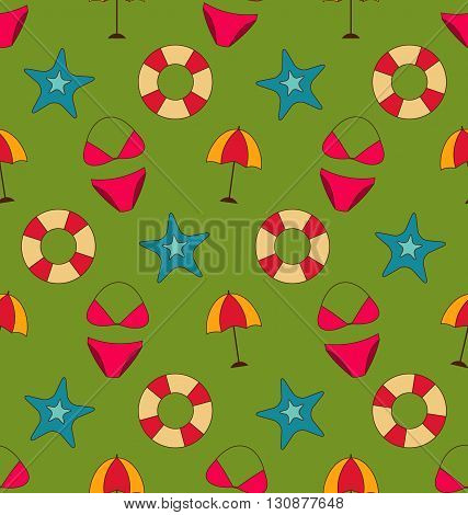 Illustration Colorful Vintage Seamless Wallpaper with Summer Beach Objects - Vector