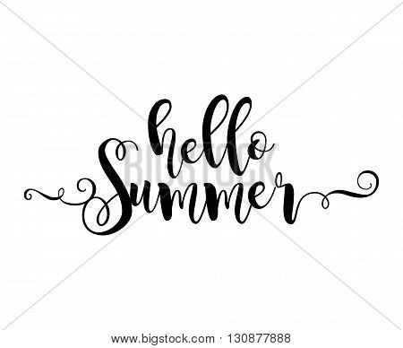 Hello Summer. Beautiful greeting card poster with calligraphy black text word. Hand drawn design elements. Handwritten modern brush lettering on a white background isolated. Vector illustration EPS 10