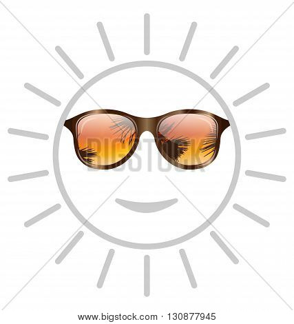 Illustration Concept of Smile Sun with Sunglasses - Vector