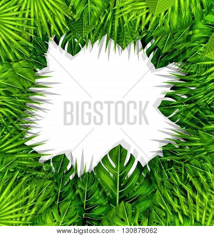Illustration Summer Fresh Background with Green Tropical Leaves - Vector
