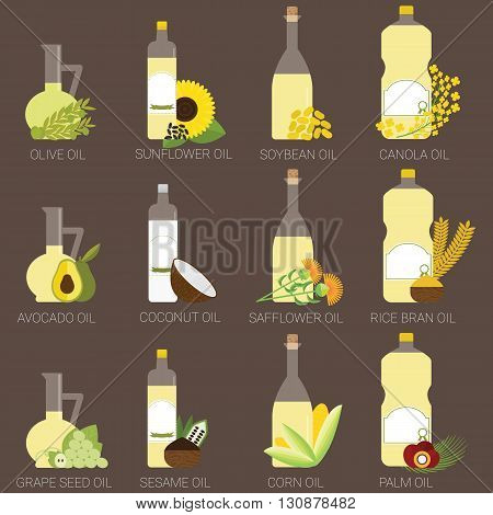 12 cooking oils in bottle. Healthy oil from canola coconut sesame soybean sunflower safflower palm olive grape seed rice bran and avocado.