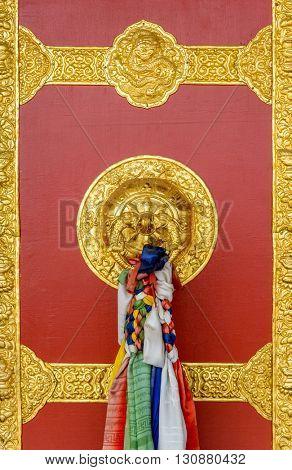 Buddhist monastery door detail in Nepal