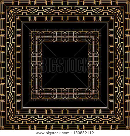Set of luxurious gold vintage frames . Vector element for invitations greeting cards and your design