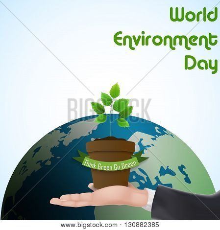 Vector illustration of Flower Pot with green ribbon concept over hand for world environment day