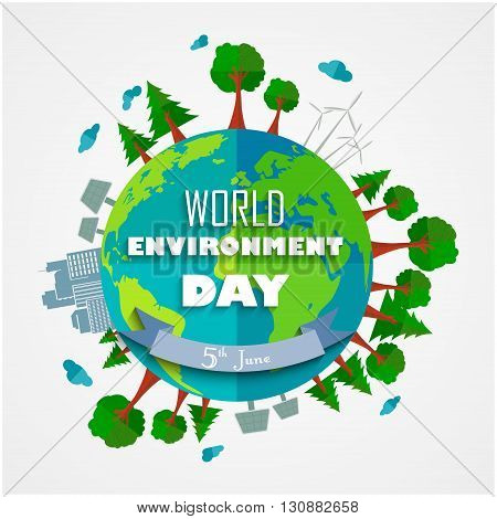 Vector illustration of World environment Day background for symbols on clean earth