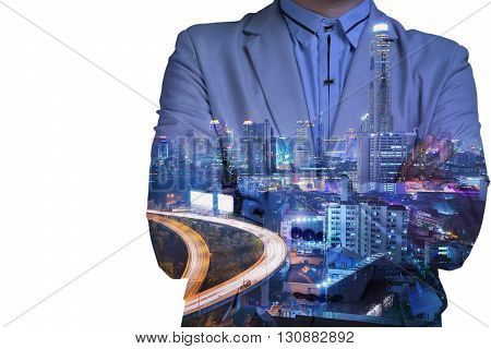 Double exposure of businessman and city at Night