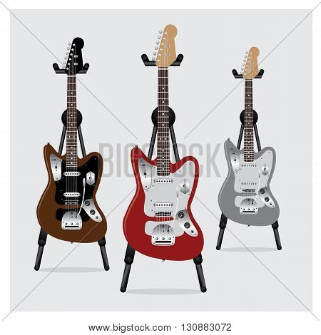 Vector Illustration Electric Guitar set with Stand
