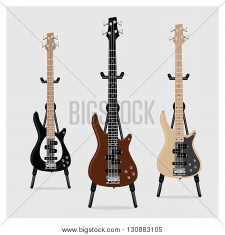 Vector Illustration Electric Bass Guitar set with Stand