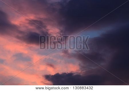 Dark storm clouds before rain Storm clouds and lightning when sunset. Abstract background. Meteorology. Synoptics. Changes in the weather. Cloud Front.