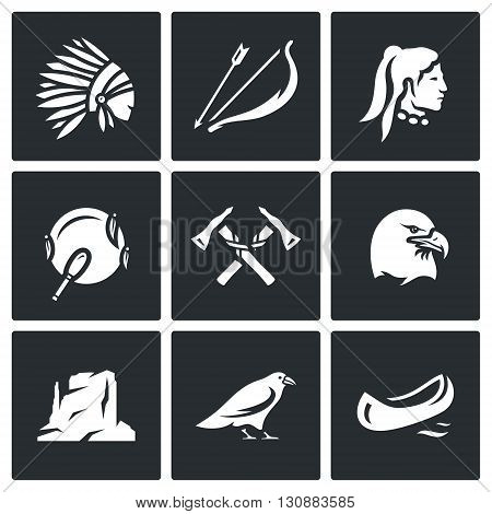 Indian, weapon, territory, animal, bird. Symbols collection