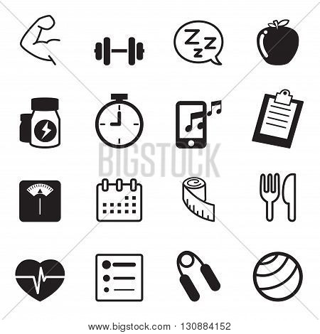 Fitness and dieting icons set  graphic design concept symbol