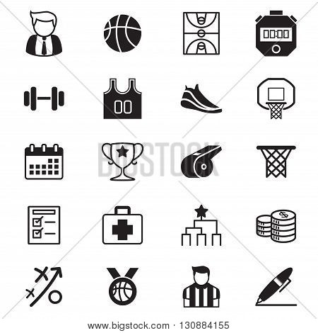 Basketball icons set graphic design concept symbol