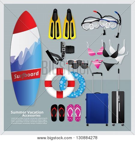 Set of Summer and Vacation Time Vector Illustration