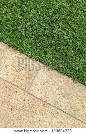 Combinations of concrete floor and green artificial grass landscaping design ideas