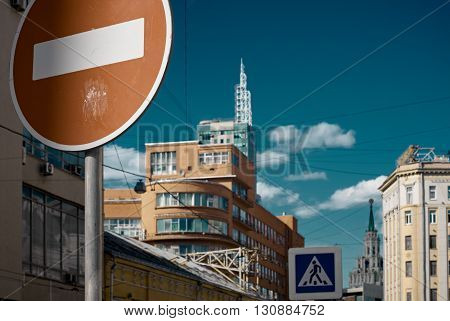 Road signs no directions and crosswalk. Moscow Russia