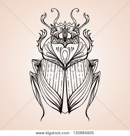 Hand drawn vintage scarab. Insect with doodle pattern. Vector element for tattoo sketch printing on T-shirts postcard and your design