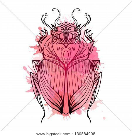 Hand drawn vintage scarab with red watercolor splashes. Insect with doodle pattern. Vector element for tattoo sketch printing on T-shirts postcard and your design