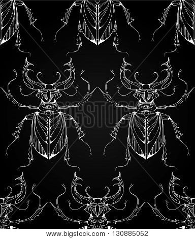 Seamless pattern with beetles deer with tribal patterns. Vector background with effect of chalk on a blackboard