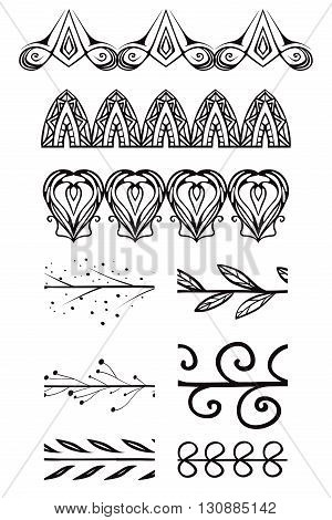 Set of doodle brushes. Vector elements for frames borders. Design elements for the registration of invitations thank-you letters postcard and your design