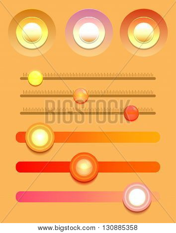Set of multicolored buttons and varios sliders. Vector element for web sites banners and your design