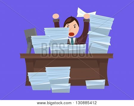 Flat illustration with evil workers in a suit at a table littered with papers. Loaded worker. Vector element for your design and infographics