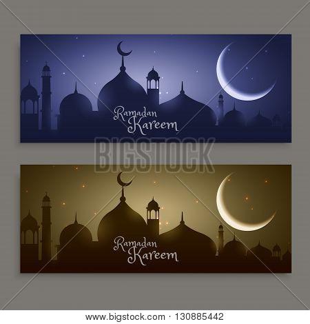 holy festival ramadan kareem banners vector design illustration
