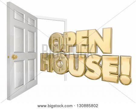 Open House Home Sale Door Words 3d Illustration
