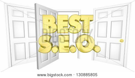 Best SEO Choice Open Door Words 3d Illustration