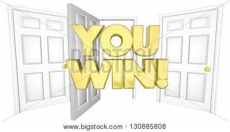 You Win Lucky Choice Open Door Words 3d Illustration