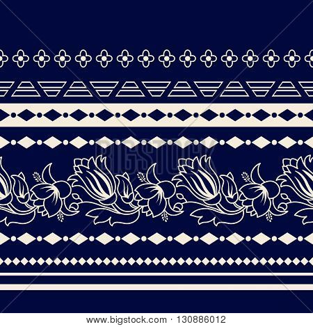 Lines Paisley seamless pattern. Decorative Paisley border